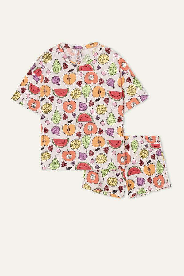 Kurzer Mädchenpyjama aus Baumwolle mit Früchteprint