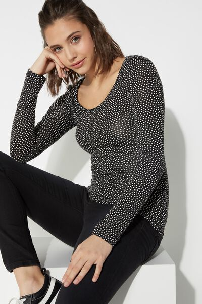 Wide Neck Long Sleeve Top in Printed Viscose