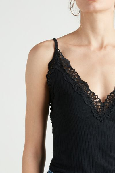 Ribbed Viscose and Lace Camisole