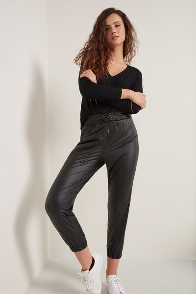 Faux Leather Technical Fabric Jogger