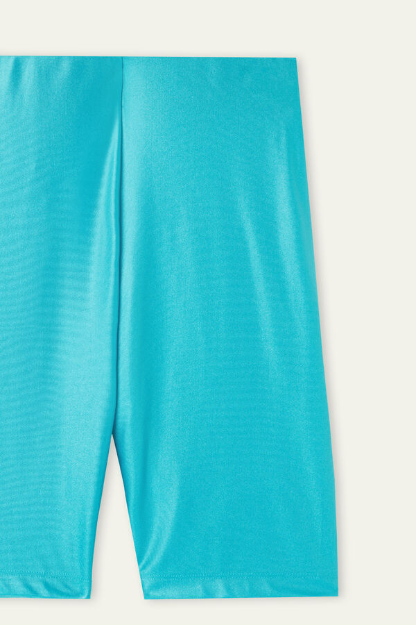 High-Waisted Glossy Microfibre Cycling Shorts