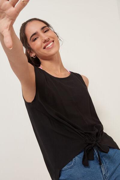 Camiseta de Tirantes Asimétrica de Tela Cardada