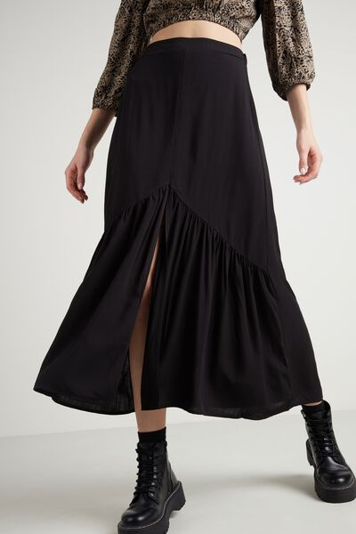 Long Flounced Skirt with Split