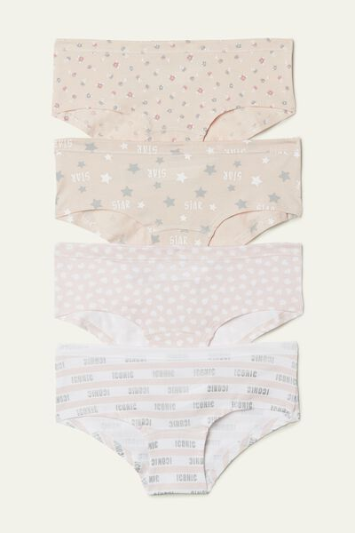 Pack of 4 Printed Cotton Hipsters