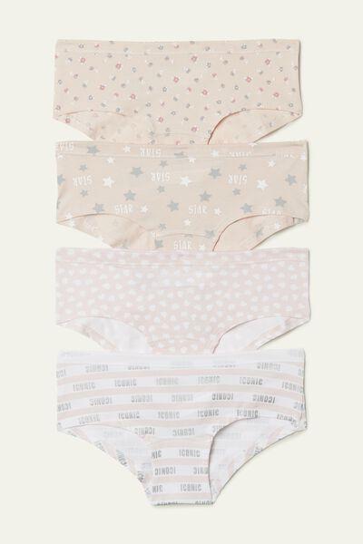 Baumwollpantys mit Musterprint im 4er-Pack