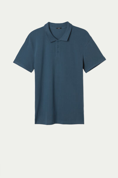 Cotton Piqué Polo with Buttons