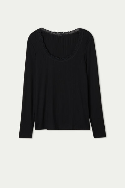 Long Sleeve Ribbed Lace Top