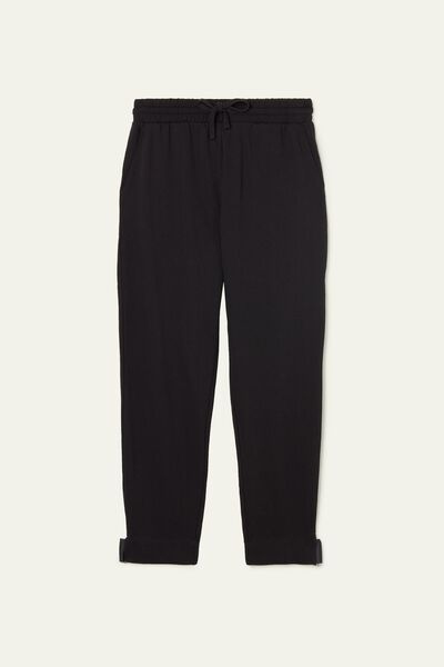 Long Fleece Cargo Trousers with Detail