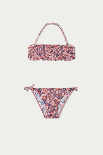 Σουτιέν Μπικίνι Στράπλες για Κορίτσια με Πλέξη Σφηκοφωλιά Summer Flower