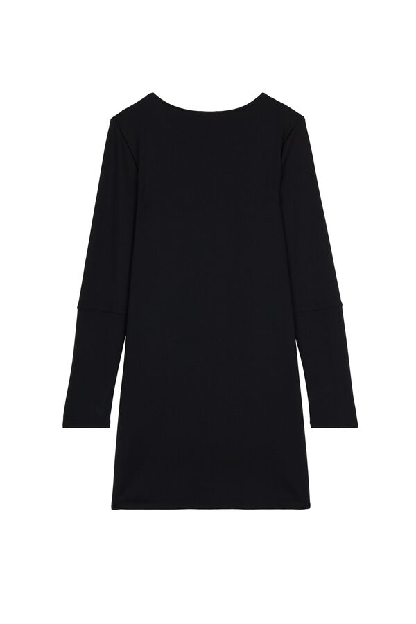 Milano Stitch Dress with Faux Leather Details