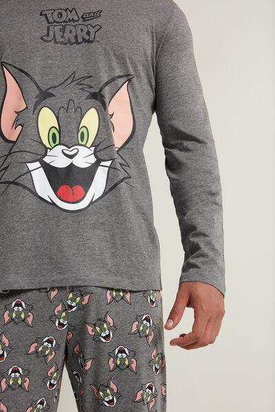 Pijama Largo de Hombre con Estampado Tom and Jerry