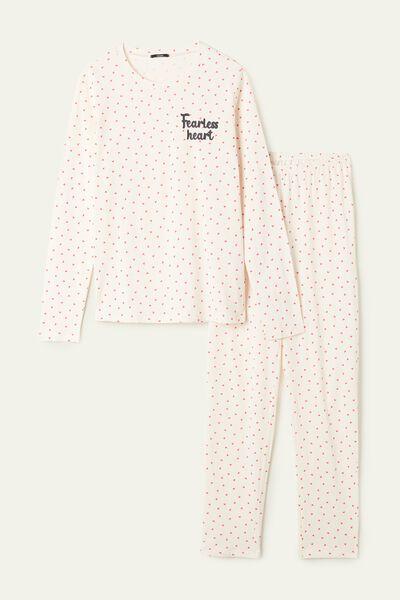 Micro Heart Print Long Cotton Pyjamas
