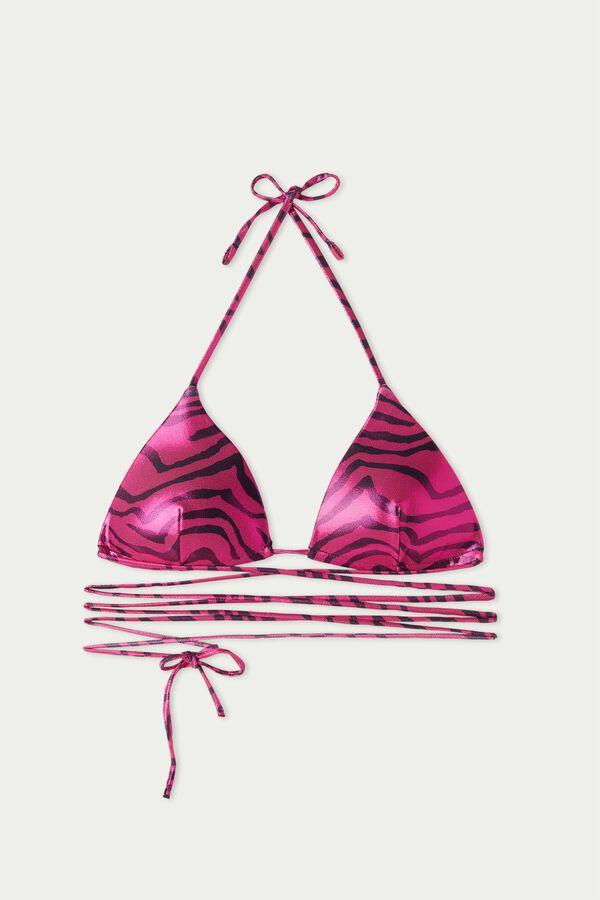 Triangel-Bikinioberteil zum Binden Shiny Zebra