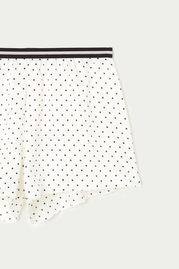 Shorts aus Satin mit Mikrotupfen