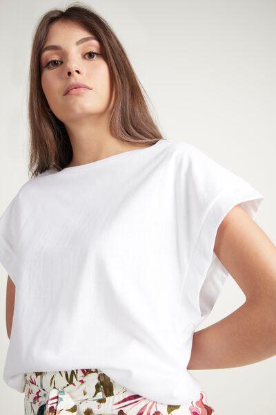 T-Shirt mit U-Boot-Ausschnitt und Kimonoärmel