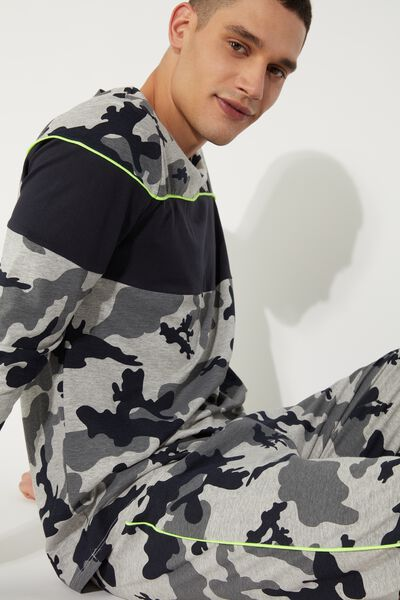 Men's Camouflage Print Long Pajamas