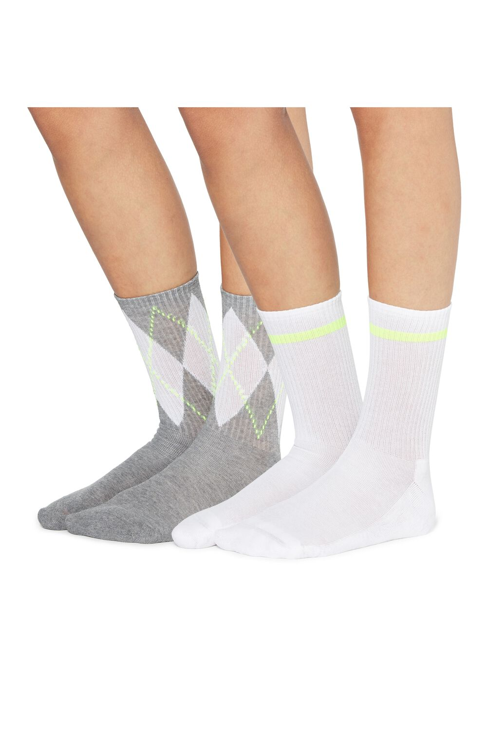 2 X 3/4 length patterned sport socks