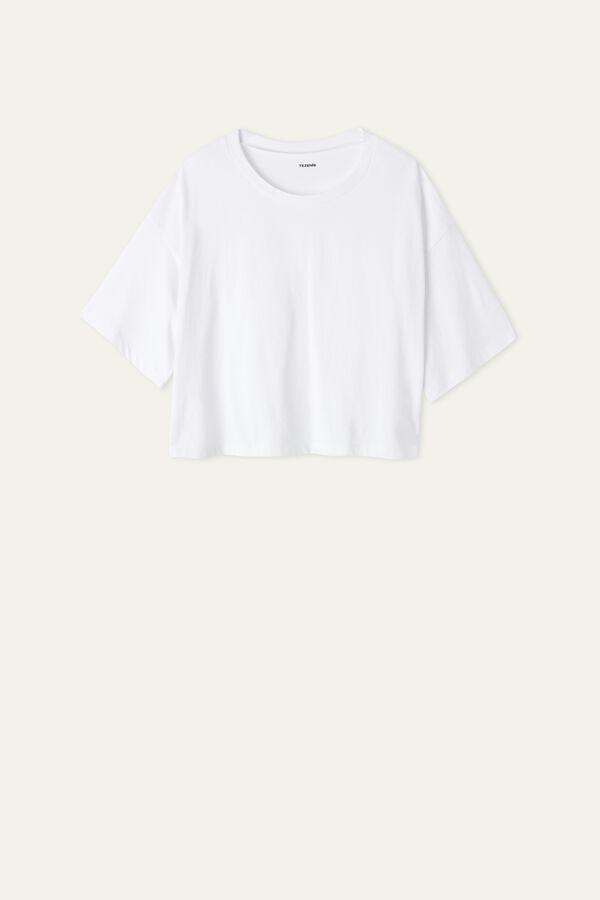 Kurzes Halbarmshirt aus Baumwolle mit überschnittenen Schultern