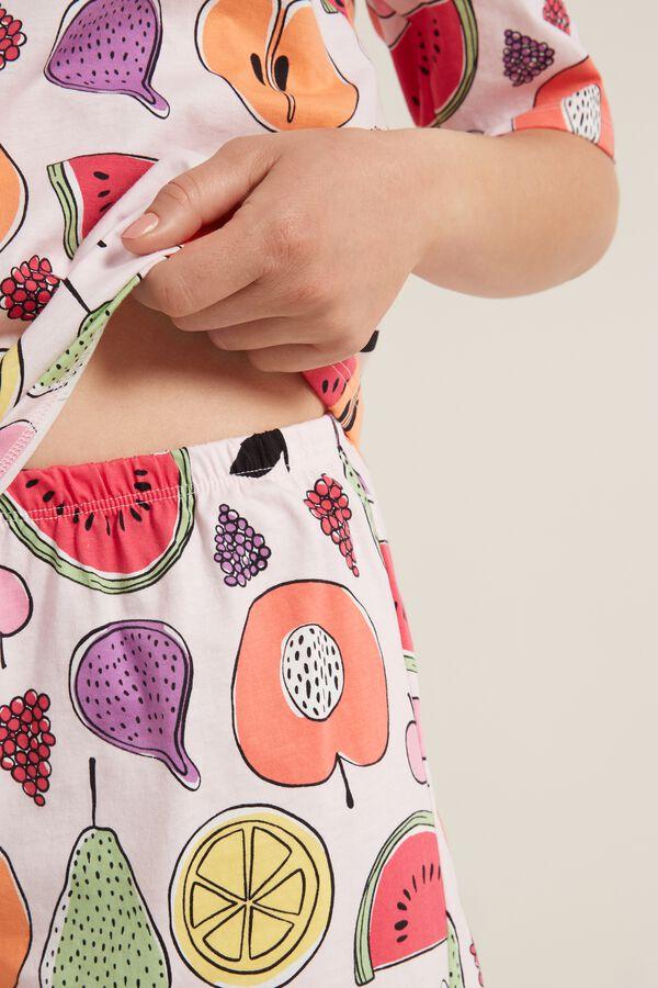 Short Cotton Pyjamas with Fruit Print