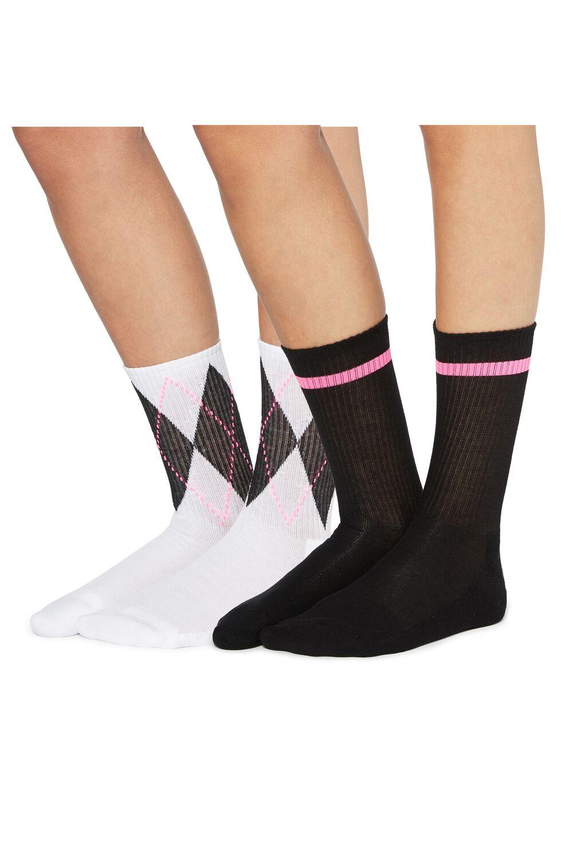 2 X 3/4 length patterned sport socks
