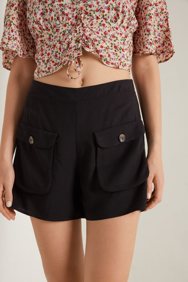 Cotton Canvas Shorts with Pockets