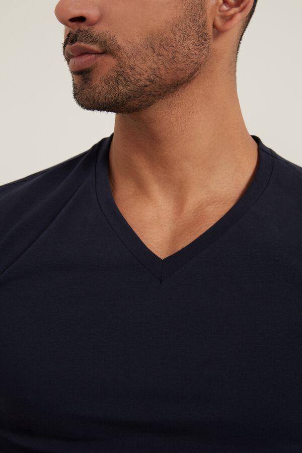 V-Neck Stretch-Cotton T-Shirt