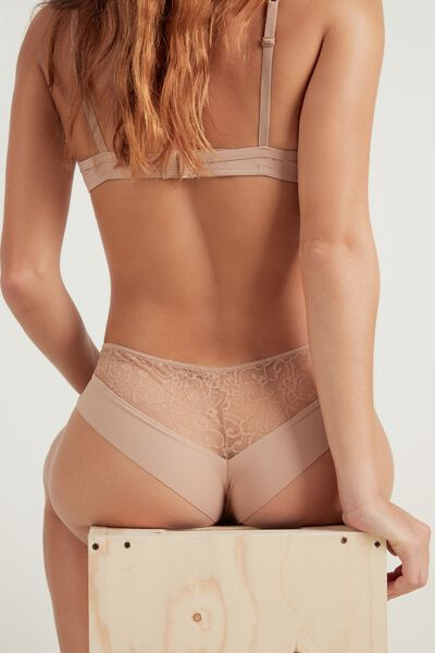 Raw-Edge Microfibre Culotte with Lace Detail