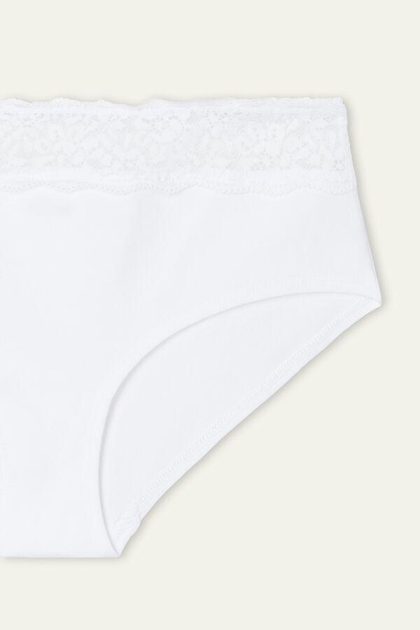 Culotte aus Baumwolle und recycelter Spitze