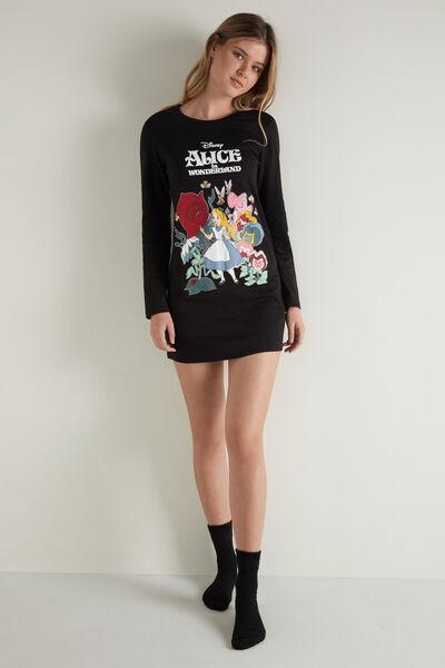 Heavy Cotton Nightshirt with Disney Alice Print