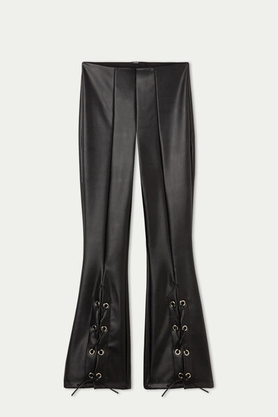 Coated-Effect Thermal Flared Trousers with Laces
