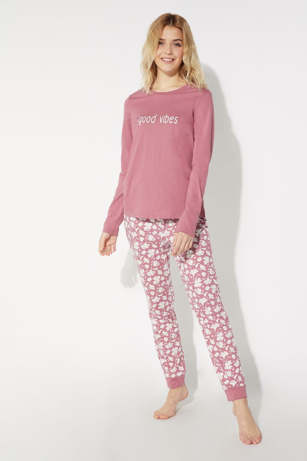 Long Good Vibes Print Pajamas