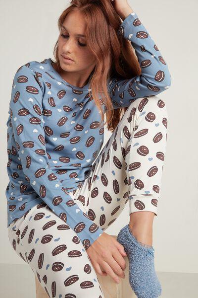 Langer Pyjama aus Baumwolle mit Keksprint