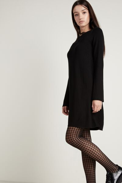 Boat Neck Dress with Lace
