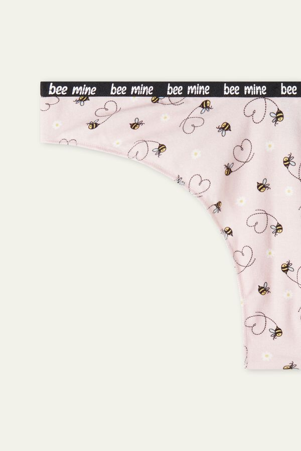 Organic Cotton Bee High-Leg Brazilian Panties