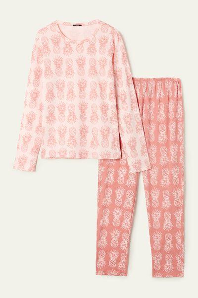 Pineapple Print Long Cotton Pyjamas