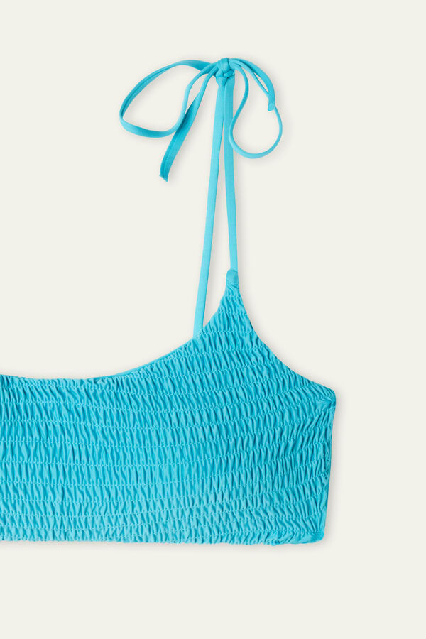 Brassiere Bikini Top in Recycled Stitched-Smock Microfibre