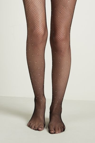 Micro Fishnet Tights with Appliquéd Rhinestones