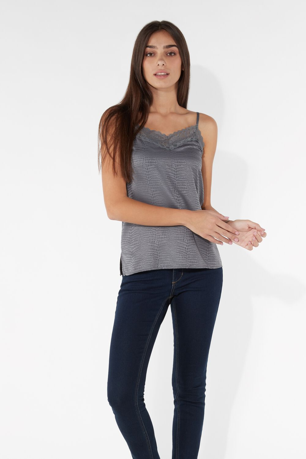 Lace and Satin Snakeskin Look Textured Top