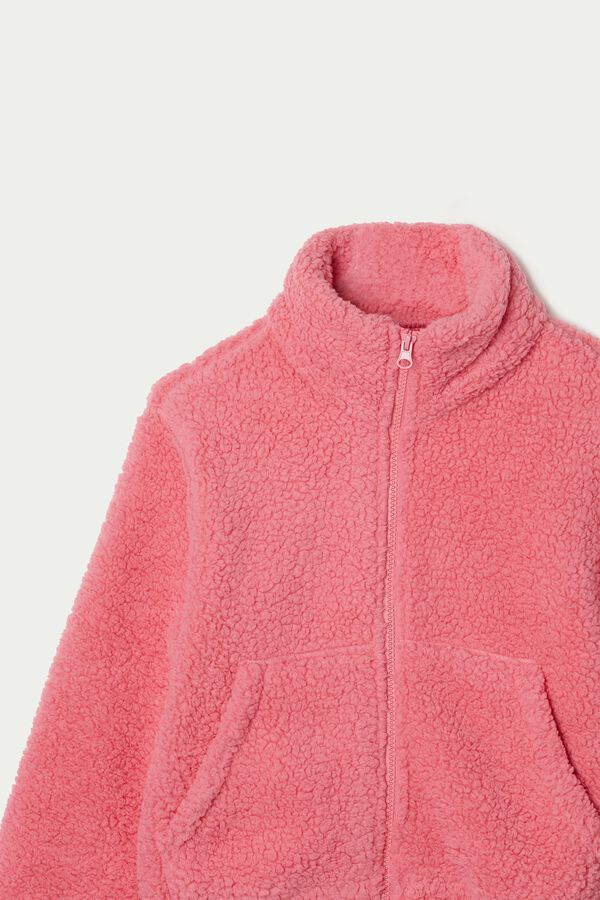 Kurze Sweatjacke aus Fleece mit Reißverschluss