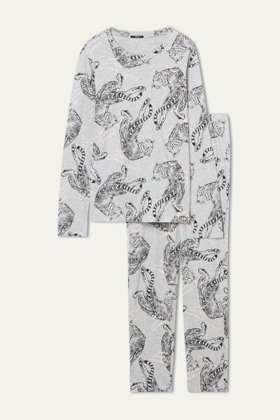 Tiger Print Long Cotton Pyjamas