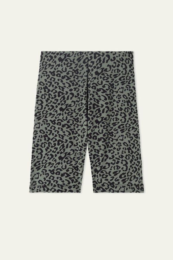 High-Waist, Printed Cotton Cycling Shorts