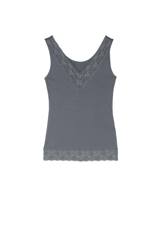 Reversible V-Neck Lace Vest Top