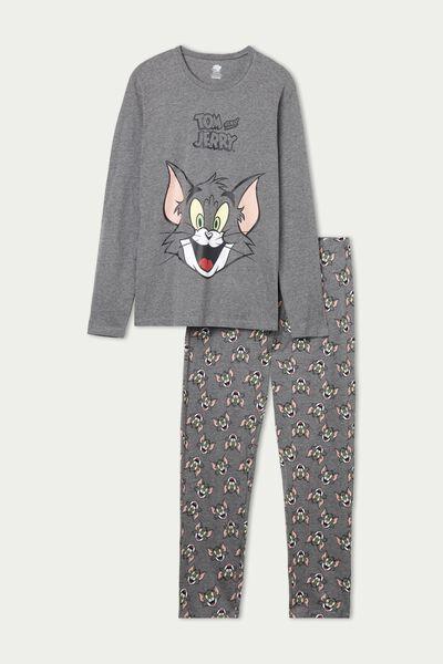 Langer Pyjama für Herren mit Tom & Jerry Print