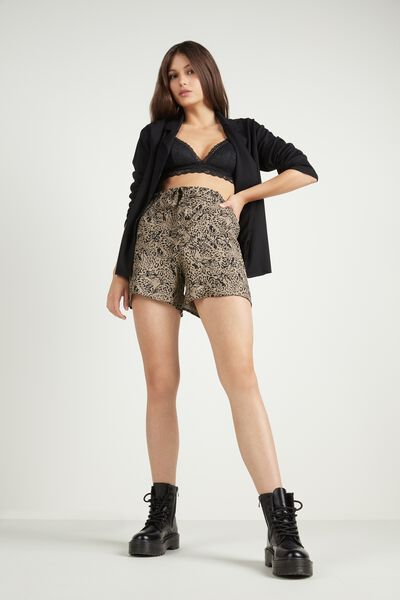 Gauze Fabric Shorts with Sash