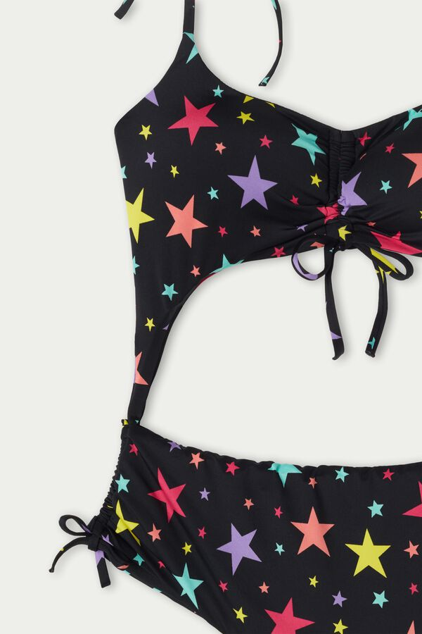 Color Stars One-Piece Swimsuit with Drawstrings