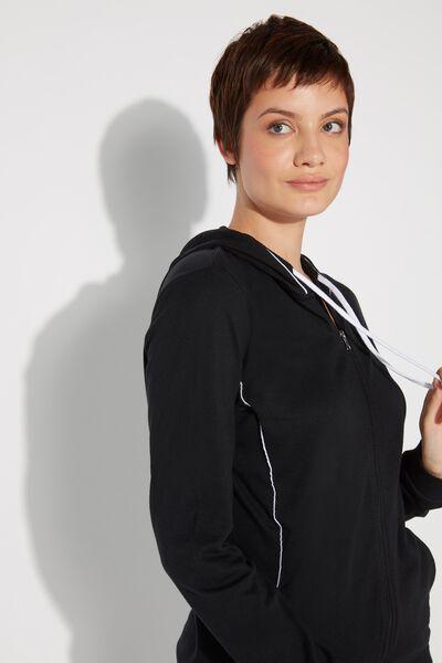 Langarmshirt mit Reißverschluss, Kapuze und Paspelierung