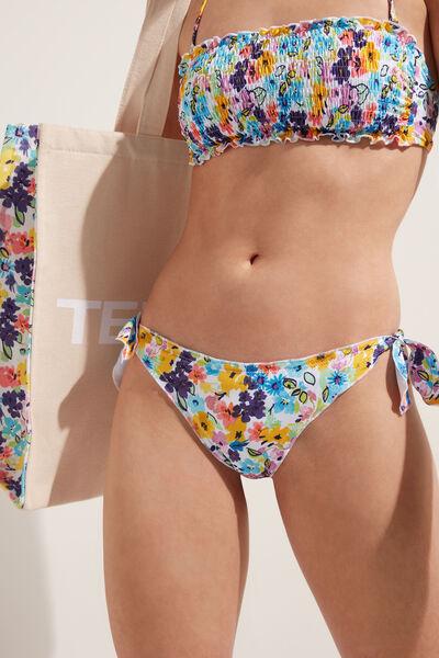Slip Bikini Funde Color Flowers Detaliu Ondulat