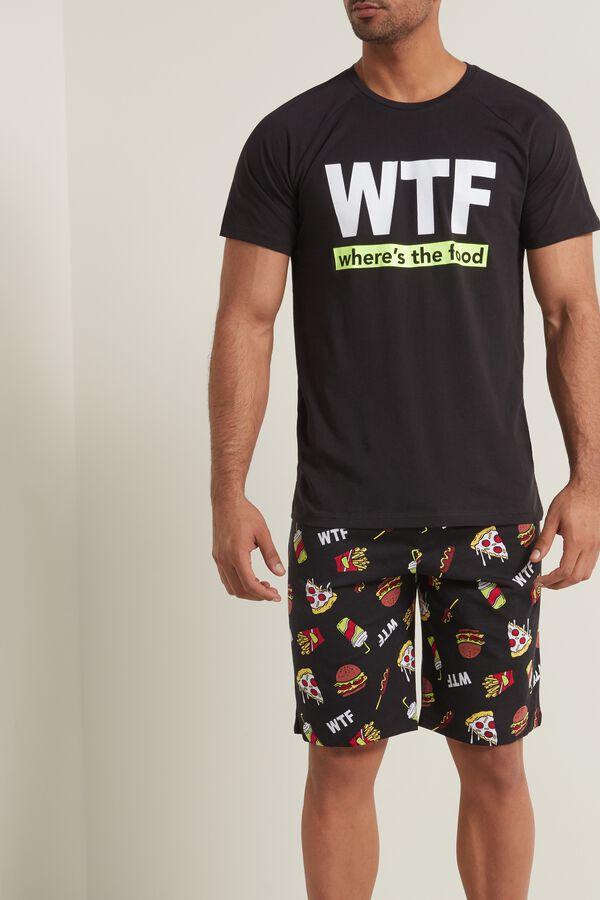 Men's Cotton WTF Print Short Pajamas