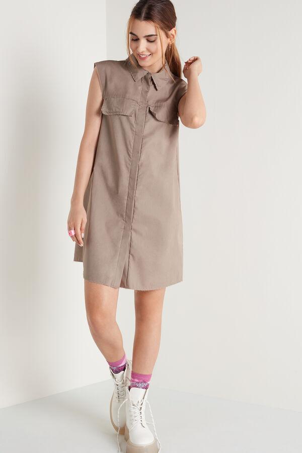 Robe Chemise Sans manches en Coton à Boutons