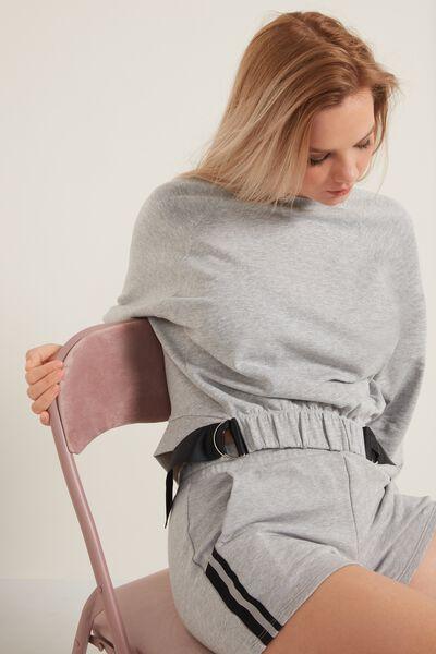 Kurzes Langarm-Sweatshirt mit Detail